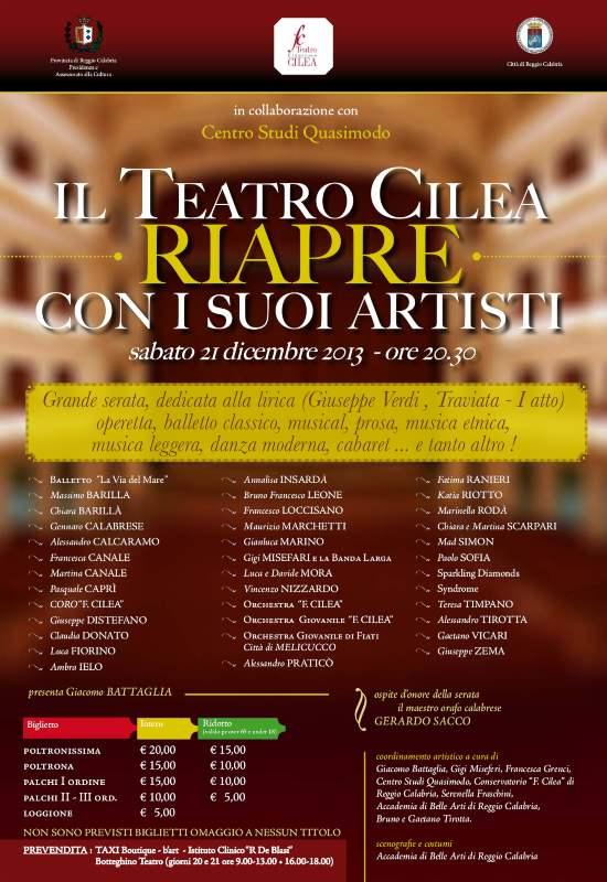il Teatro Cilea riapre con i suoi artisti